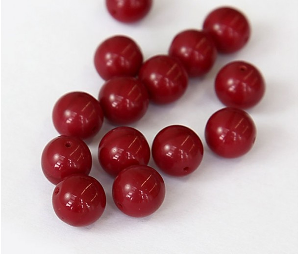 Opaque Oxblood Czech Glass Beads, 10mm Round, Pack of 25