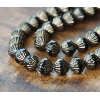 Jet Bronze Czech Glass Beads, 9mm Fluted