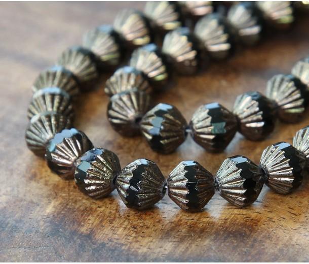 Jet Bronze Czech Glass Beads, 9mm Fluted