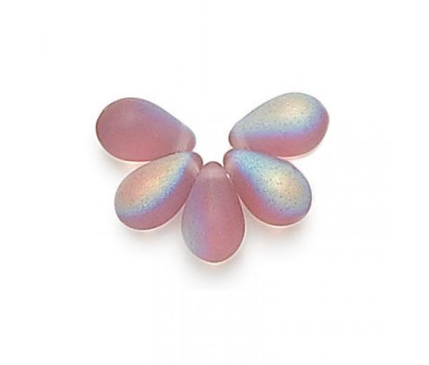 Matte Amethyst AB Czech Glass Beads, 9x6mm Teardrop