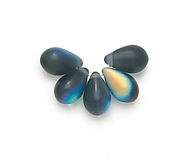 Matte Montana Blue AB Czech Glass Beads, 9x6mm Teardrop, Pack of 50