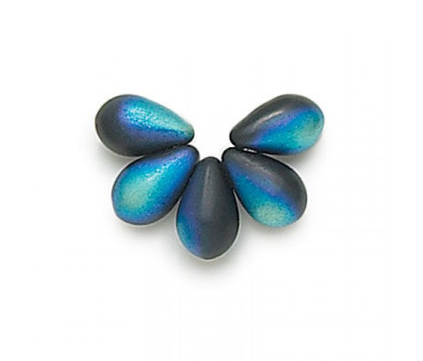 Matte Jet AB Czech Glass Beads, 9x6mm Teardrop, Pack of 50