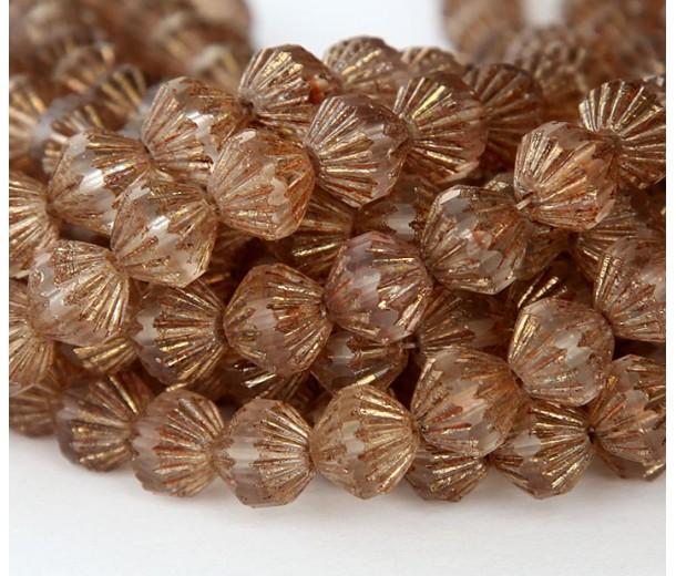Transparent Gold Smoked Topaz Matte Czech Glass Beads, 9mm Fluted