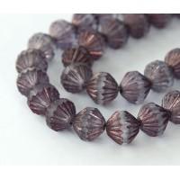 Transparent Amethyst Matte Luster Czech Glass Beads, 9mm Fluted