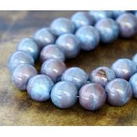 Blue Raspberry Swirl Moon Dust Czech Glass Beads, 10mm Round