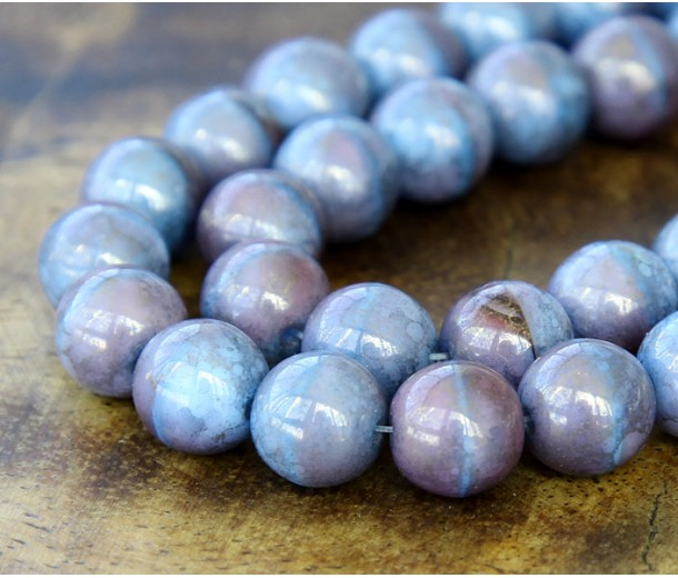 Blue Raspberry Swirl Moon Dust Czech Glass Beads, 10mm Round