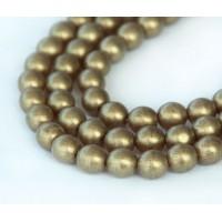Suede Gold Smoky Topaz Czech Glass Beads, 6mm Round