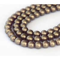 Suede Gold Amethyst Czech Glass Beads, 6mm Round