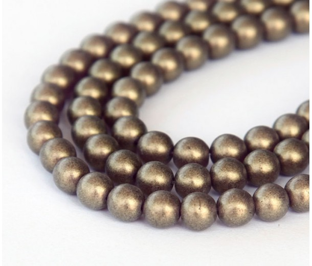 Suede Gold Amethyst Czech Glass Beads, 4mm Round