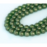 Suede Gold Green Emerald Czech Glass Beads, 6mm Round