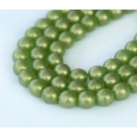 Suede Gold Olivine Czech Glass Beads, 6mm Round
