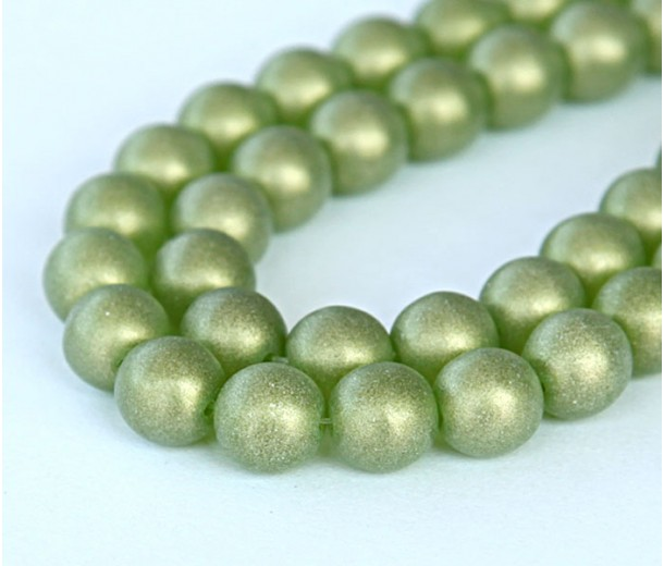 Suede Gold Olivine Czech Glass Beads, 8mm Round