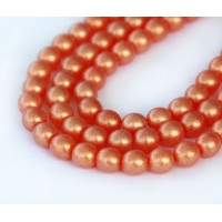 Suede Gold Hyacinth Czech Glass Beads, 6mm Round