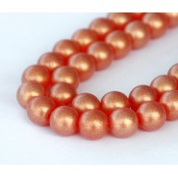 Suede Gold Hyacinth Czech Glass Beads, 8mm Round