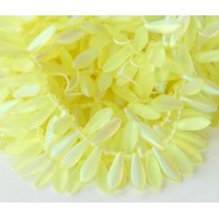 Matte Jonquil AB Czech Glass Beads, 5x16mm Dagger, Pack of 25