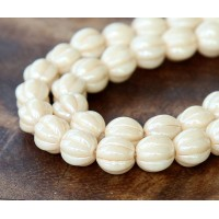 Opaque Champagne Luster Czech Glass Beads, 8mm Melon Round