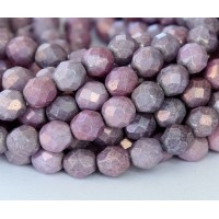 Opaque Amethyst Luster Czech Glass Beads, 8mm Faceted Round
