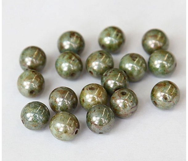 Opaque Green Luster Czech Glass Beads, 10mm Round, Pack of 25