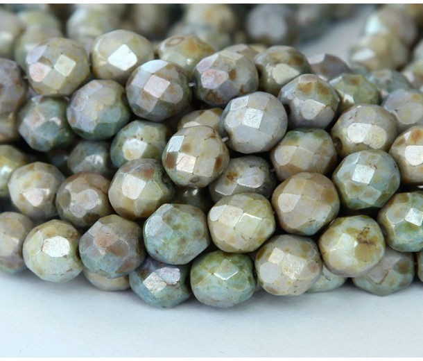 Opaque Green Luster Czech Glass Beads, 8mm Faceted Round