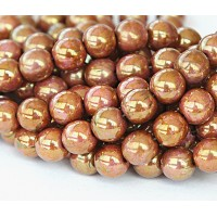 Opaque Rose Gold Topaz Luster Czech Glass Beads, 8mm Round