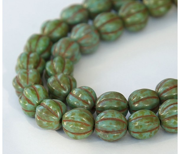 Turquoise Picasso Czech Glass Beads, 8mm Melon Round