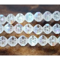 Crystal AB Czech Glass Beads, 9mm Fluted