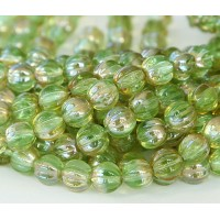 Chrysolite Celsian Czech Glass Beads, 8mm Melon Round