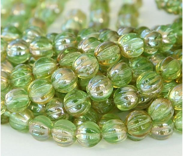 Chrysolite Celsian Czech Glass Beads, 8mm Melon Round