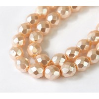 Blush Pink Pearl Czech Glass Beads, 8mm Faceted Round