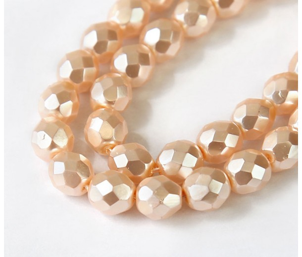 Blush Pink Pearl Czech Glass Beads, 8mm Faceted Round, Pack of 25