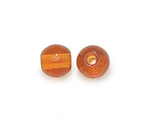 Topaz Czech Glass Beads, 8mm Round Large Hole, Pack of 25