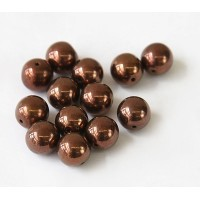 Dark Bronze Czech Glass Beads, 10mm Round, Pack of 25