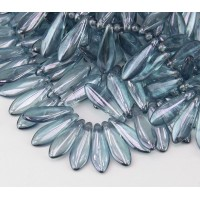Transparent Blue Luster Czech Glass Beads, 5x16mm Dagger, Pack of 25