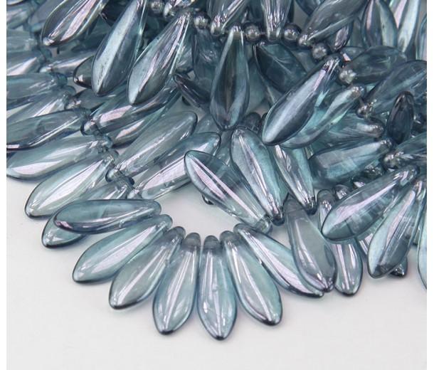 Transparent Blue Luster Czech Glass Beads, 5x16mm Dagger