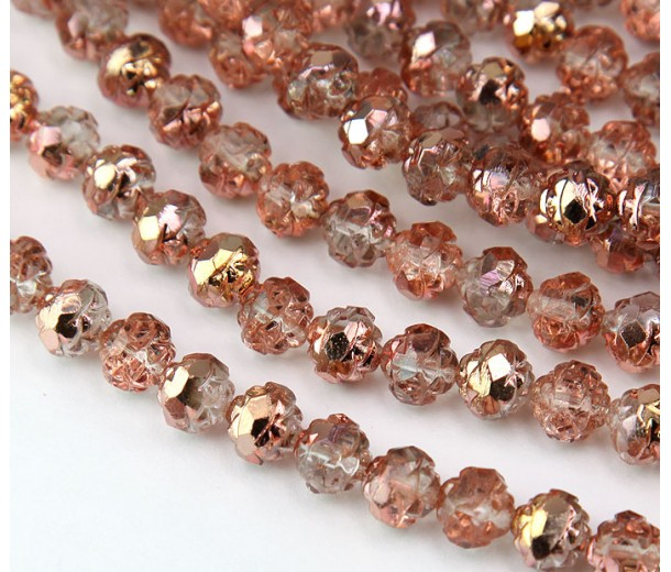Apollo Gold Czech Glass Beads, 8mm Rosebud