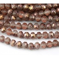 Matte Apollo Gold Czech Glass Beads, 6mm Rosebud