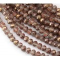 Matte Apollo Gold Czech Glass Beads, 6mm Rosebud