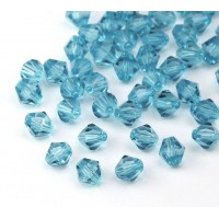 Ice Blue Czech Crystal Beads, 6mm Faceted Bicone