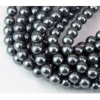 Stormy Grey Pearl Czech Glass Beads, 8mm Round