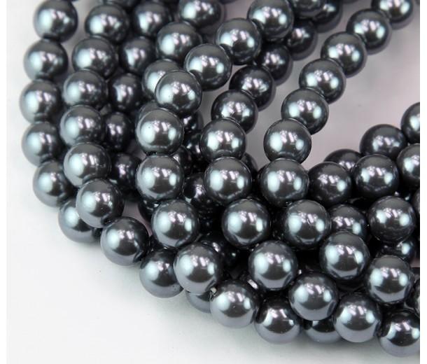 Stormy Grey Pearl Czech Glass Beads, 8mm Round