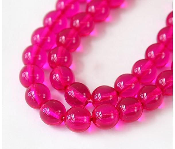Fuchsia Czech Glass Beads, 10mm Round