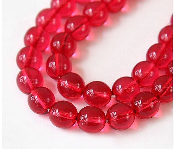 Cranberry Pink Czech Glass Beads, 10mm Round, Pack of 25