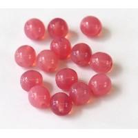 Dark Milky Pink Czech Glass Beads, 10mm Round