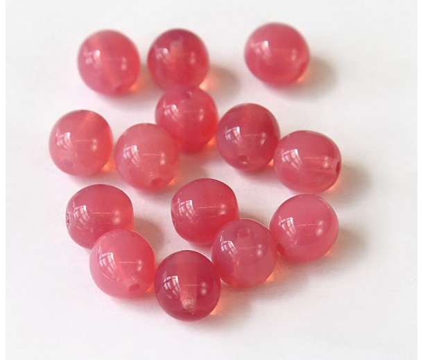 Dark Milky Pink Czech Glass Beads, 10mm Round