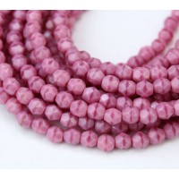 Pink Czech Glass Beads, 4mm Faceted Round