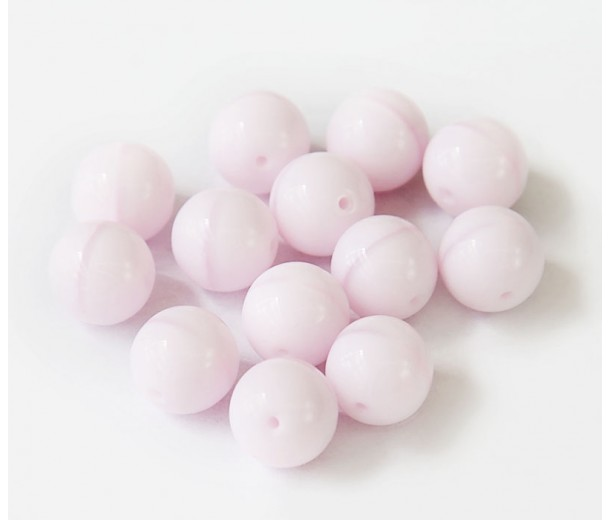 Opaque Rose Pink Czech Glass Beads, 8mm Round, Pack of 25