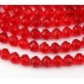 Light Siam Red Czech Glass Beads, 8mm Rosebud
