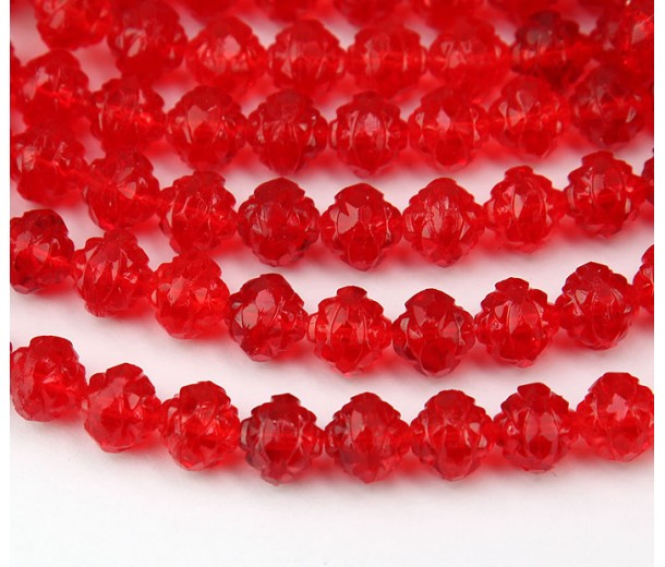 Light Siam Red Czech Glass Beads, 8mm Rosebud