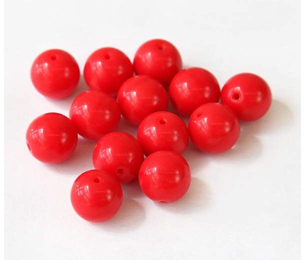 Opaque Coral Czech Glass Beads, 10mm Round