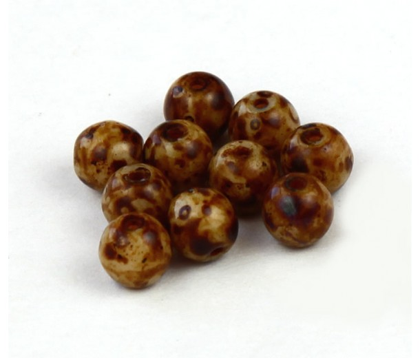 Brown Swirl Czech Glass Beads, 6mm Round
